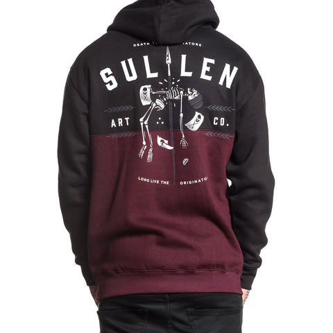 Men's Sullen Immitators Fleece Hoodie Black Skeleton Spear Tattoo Art Lifestyle