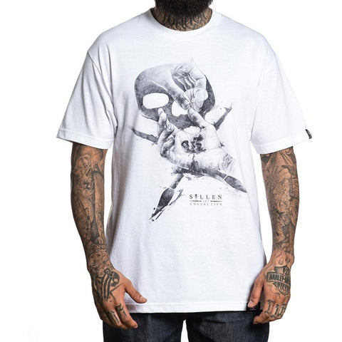 Men's Sullen Ink Caps T-Shirt White Skull Logo Tattoo Art Lifestyle