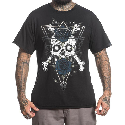 Men's Sullen Into The Void T-Shirt Black Skull Rose Tattoo Art Lifestyle