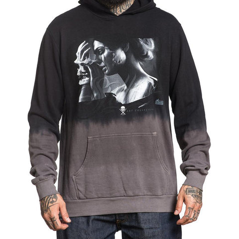 Men's Sullen Layers Pullover Hoodie Black Grey Dip Dye Skull Mask Tattoo Art