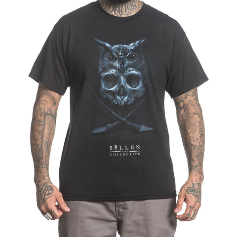 Men's Sullen Matt Jordon T-Shirt Black Owl Skull Tattoo Art Lifestyle Brand