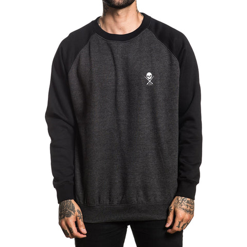 Men's Sullen Standard Issue Crew Fleece Charcoal Heather/Black Skull Tattoo