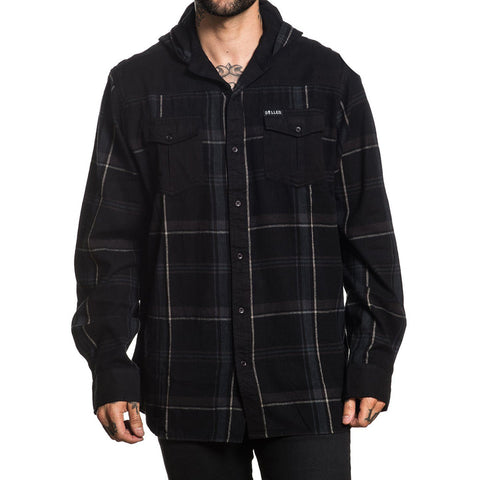 Men's Sullen Night Train Hooded Flannel Black/Grey Tattoo Art Lifestyle