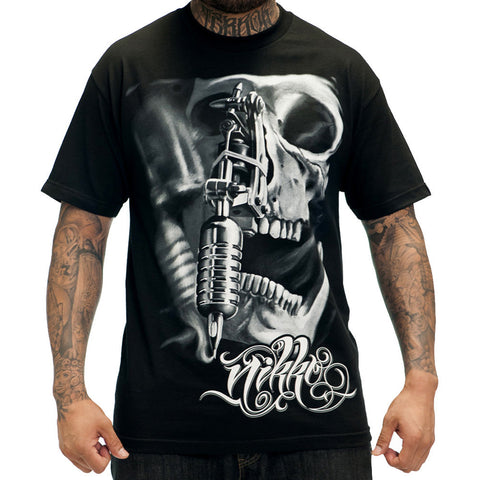 Men's Sullen Nikko T-Shirt Skull Tattoo Gun Machine Art Ink Lifestyle