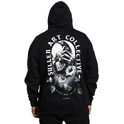 Men's Sullen One More Fix Zip Hoodie Black Raven Roses Tattoo Art Lifestyle