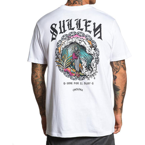 Men's Sullen Orar Por El Surf T-Shirt White Pray for Surf Skeleton