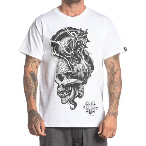 Men's Sullen Pillage T-Shirt White Skull Castle Horse Midevil Tattoo Lifestyle