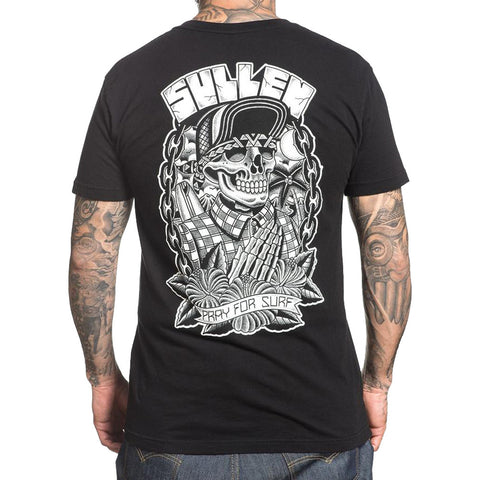 Men's Sullen Pray For Surf T-Shirt Black Choloha Tattoo Cholo Skeleton Beach