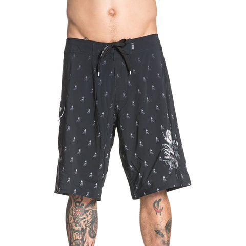 Men's Sullen Primm Board Shorts Black Tattoo Art Lifestyle Brand