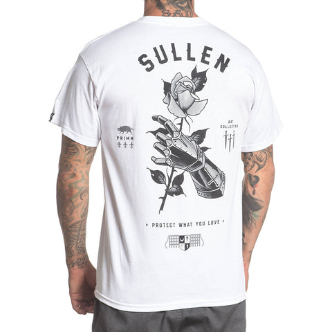 Men's Sullen Primm T-Shirt White Knights Armor Rose Tattoo Lifestyle Brand