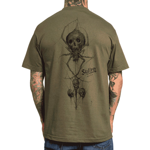 Mens Sullen Black Venom T-Shirt Military Green Spider Skull Tattoo Art Lifestyle