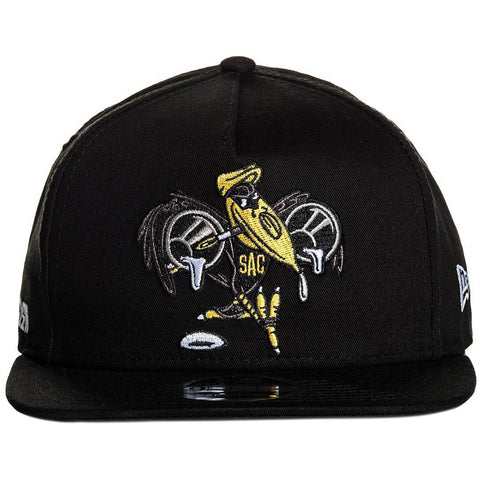 Sullen Streetwise Snapback Hat Black/White Crow Paint Brush Art