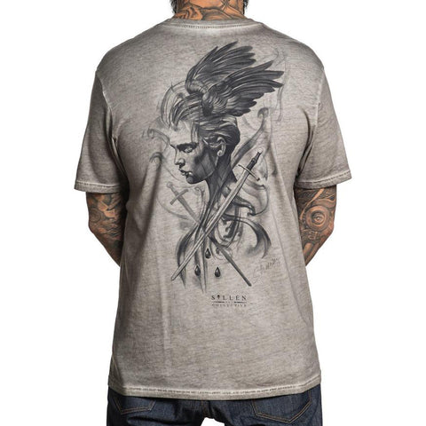 Men's Sullen Sharuzen T-Shirt Light Grey Oil Stain Wings Swords Tattoo Art Life
