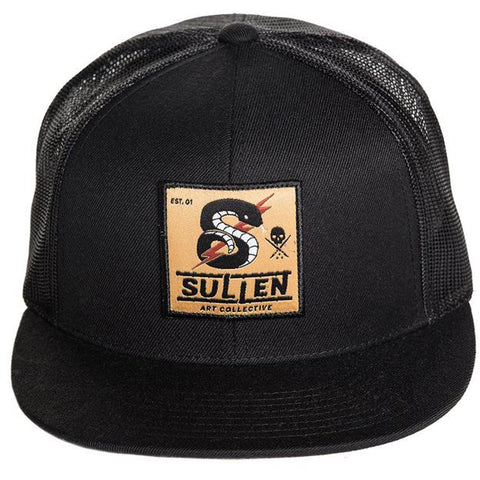 Sullen Strike Snapback Hat Black Snake Lightning Bolt Tattoo Art Lifestyle Brand
