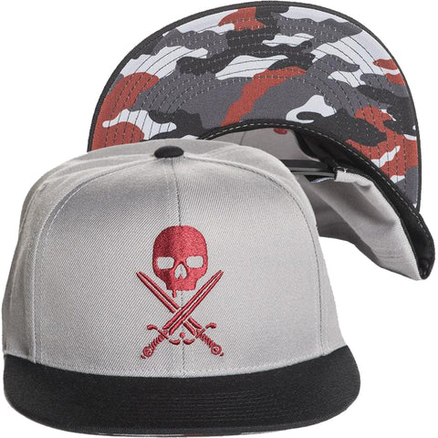 Sullen Urban Assault Snapback Hat Grey Skull Camo Tattoo Art Lifestyle