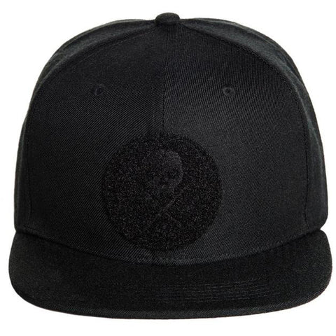 Sullen Velcro Snapback Hat Black on Black Skull Logo Tattoo Lifestyle Brand