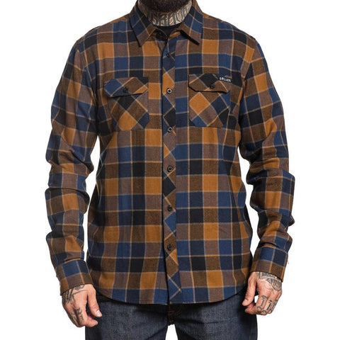 Men's Sullen Wrench Flannel Tan/Blue Plaid Tattoo Art Lifestyle