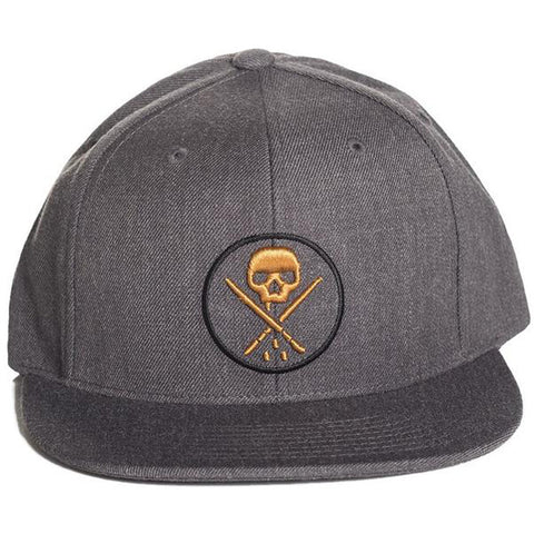 Sullen Yards Snapback Hat Charcoal Skull Logo Tattoo Lifestyle Brand