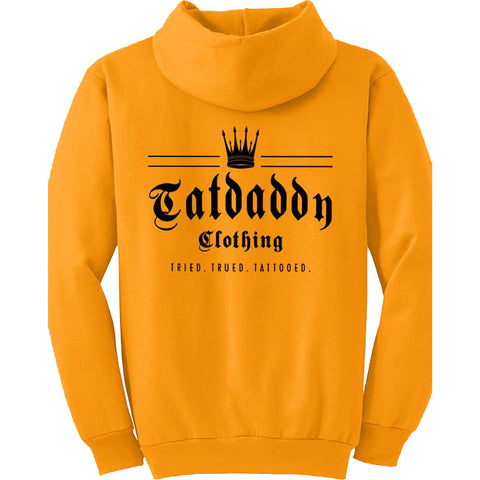 Men's Tat Daddy Crown Me Hoodie Gold Logo Tried Trued Tattooed