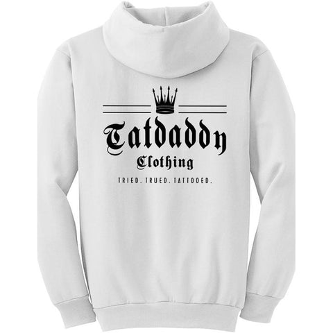 Men's Tat Daddy Crown Me Hoodie White Logo Tried Trued Tattooed