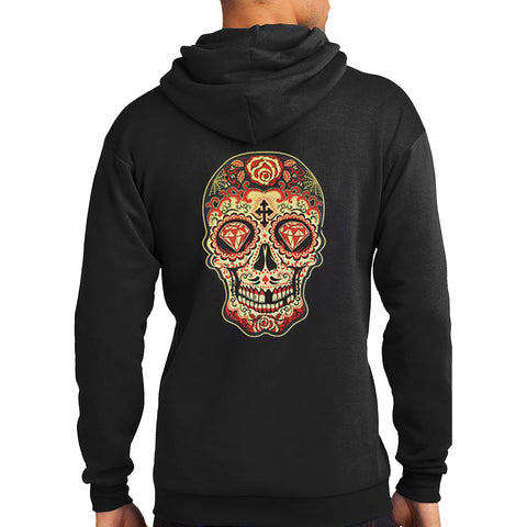 Men's Tat Daddy Day of the Dead Hoodie Black Sugar Skull