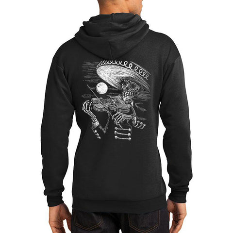 Men's Tat Daddy Face the Music Hoodie Day of the Dead Skeleton Sombrero