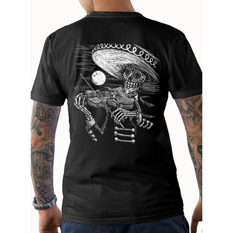 Men's Tat Daddy Face the Music T-Shirt Day of the Dead Skeleton Sombrero