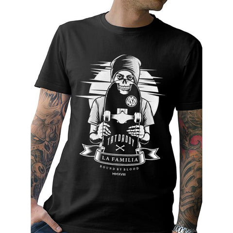 Men's Tat Daddy TDB x OSD Cotton T-Shirt Black Skateboard Skater Skull