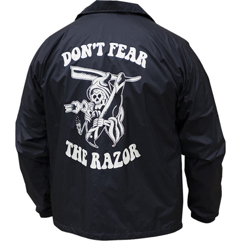 Men's Tip Top Industries Don't Fear The Razor Windbreaker Black Barber Reaper