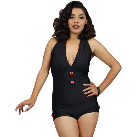 Pinky Pinups Roll Up Halter One Piece Swimsuit Black Vintage Rockabilly Pin Up