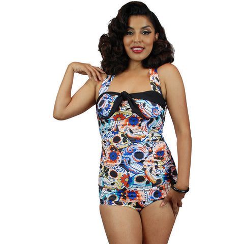 Pinky Pinups Sugar Skull Front Bow One Piece Swimsuit Vintage Rockabilly Pin Up
