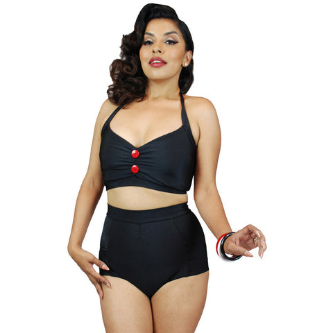 Pinky Pinups Vintage Two-Piece Swimsuit Black  Retro Rockabilly Pin Up