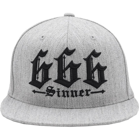 Red Devil Clothing 666 Sinner Fitted Hat Heather Grey Occult