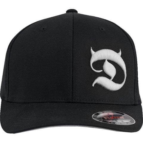 Red Devil Clothing Horned D FlexFit Hat Black/White Devil Horns Logo