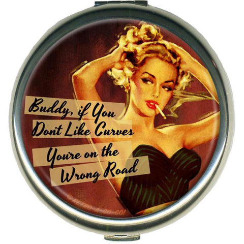 Retro-a-go-go! Curves In All The Right Places Black Compact Mirror Retro Pin Up