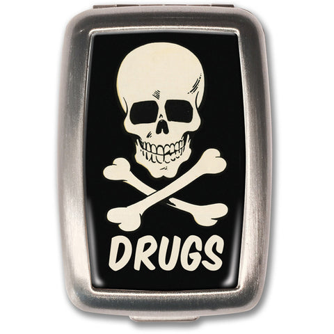 Retro-a-go-go! Drugs Pill Box Vintage 50s Skull & Crossbones Tattoo