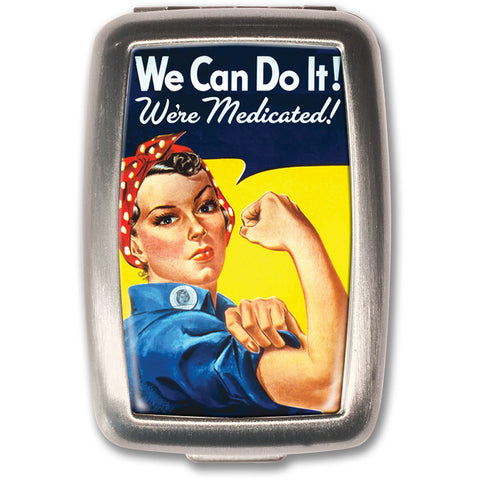 Retro-a-go-go! We Can Do It! Pill Box Yellow Rosie the Riveter Retro Rockabilly