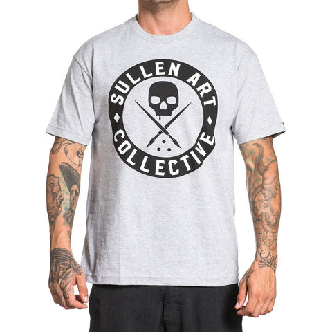 Men's Sullen All Day Badge T-Shirt Heather Grey Logo Tattoo Lifestyle Brand