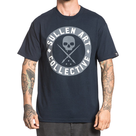 Men's Sullen All Day Badge T-Shirt Navy Sullen Logo Tattoo Lifestyle Ink