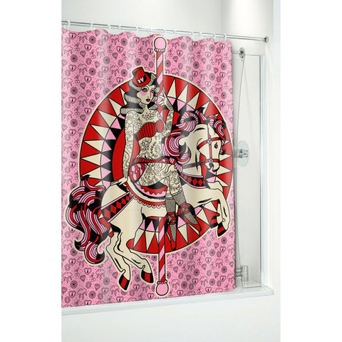 Sourpuss Carousel Horse Shower Curtain Tattoo Sideshow Tattooed Lady