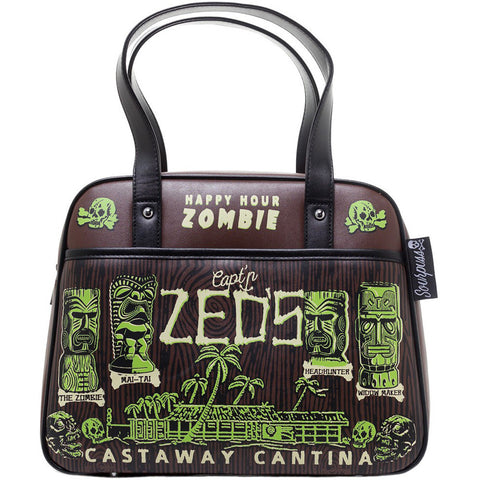 Sourpuss Castaway Bowler Purse Brown Rockabilly Zombie Tiki Psychobilly Tropical