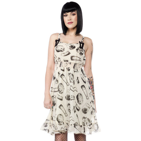 Sourpuss Doll Parts Dress Ivory Creepy Girl Psychobilly