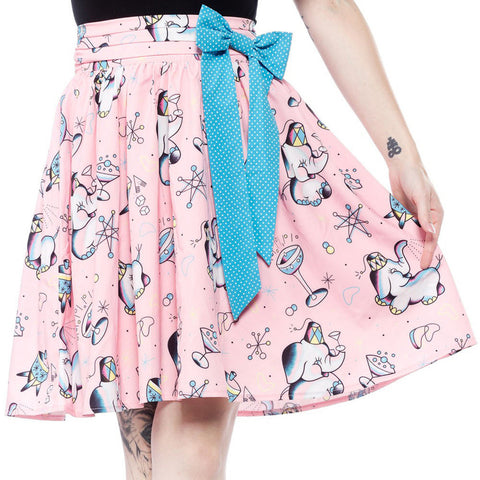 Sourpuss Elephants Swing Skirt Pink Retro Vintage Rockabilly Kitschy