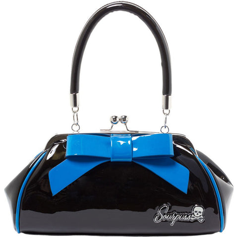 Sourpuss Floozy Purse Black/Blue Retro Vintage Rockabilly Pin Up