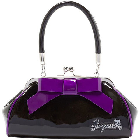 Sourpuss Floozy Purse Black/Purple Retro Vintage Rockabilly Pin Up