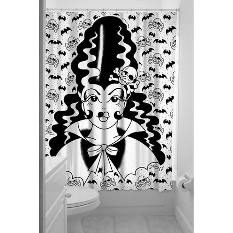 Sourpuss Frankengal Shower Curtain Black Bride of Frankenstein Skulls Bats