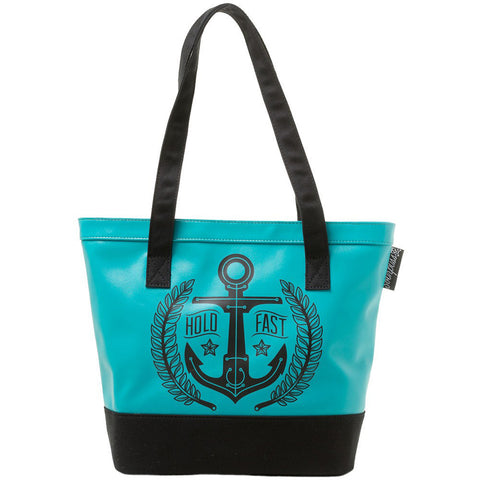 Sourpuss Hold Fast Vinyl Tote Bag Turquoise Anchor Nautical Tattoo Flash