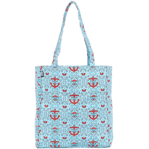 Sourpuss Lovely Anchors Tote Bag Turquoise Nautical Bows Rockabilly