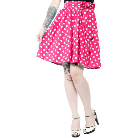 Sourpuss Polka Dot Swing Skirt Pink Retro Rockabilly Vintage Pin Up