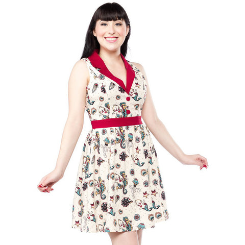 Sourpuss Seahorse Kewpie June Dress Cream Retro Vintage Rockabilly Tattoo Flash